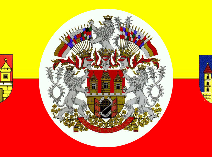 Prague flag red and golden coats of arms 810x600 - Prague flag (red and golden), coats of arms