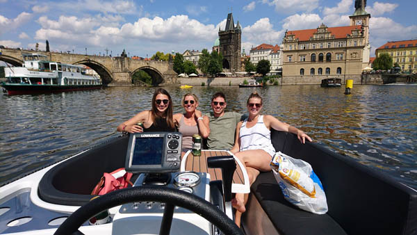two couple on a boat cruise in Prague